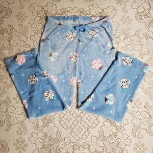 Blue cozy lounge pants with owls XXL